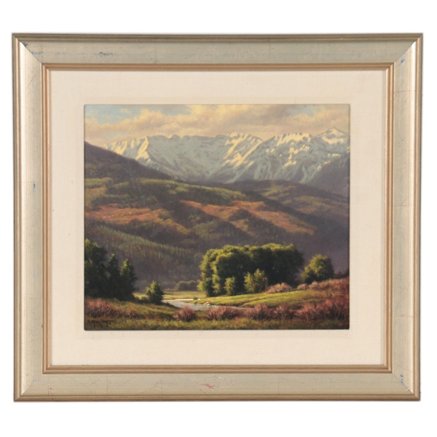 """Mark Pettit Oil Painting """"Ouray County,"""" 1991"""