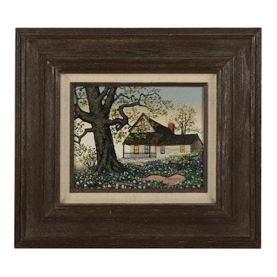 "H. Hargrove Embellished Serigraph ""The Old Oak Tree,"" Circa 2000"