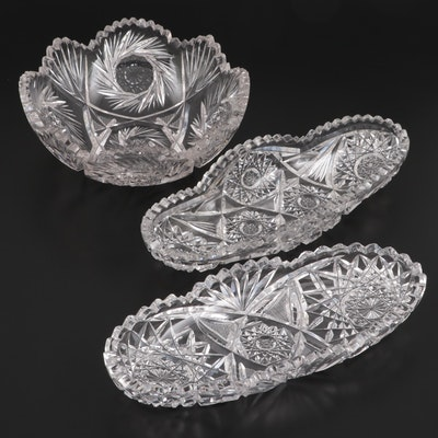 American Brilliant Style Cut Glass Celery and Bowl