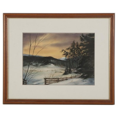 L. Shaw Snowy Fields at Sunset Watercolor Painting, Late 20th to 21st Century