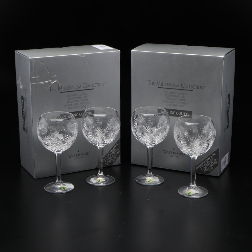"""Waterford Crystal """"The Millennium Collection"""" Toasting Goblets"""