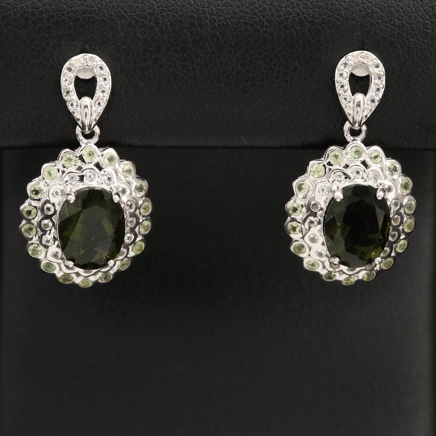 Sterling Silver Moldavite, Peridot and Topaz Drop Earrings