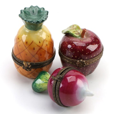 Parry Vieille and Other Hand-Painted Porcelain Fruit and Radish Limoges Boxes