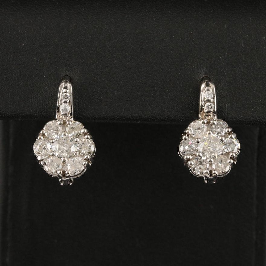 14K 3.42 CTW Diamond Cluster Earrings