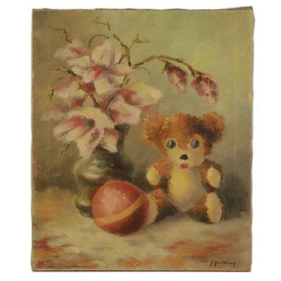 Kristaps Karlovics Impressionist Still Life Oil Painting, Mid-20th Century