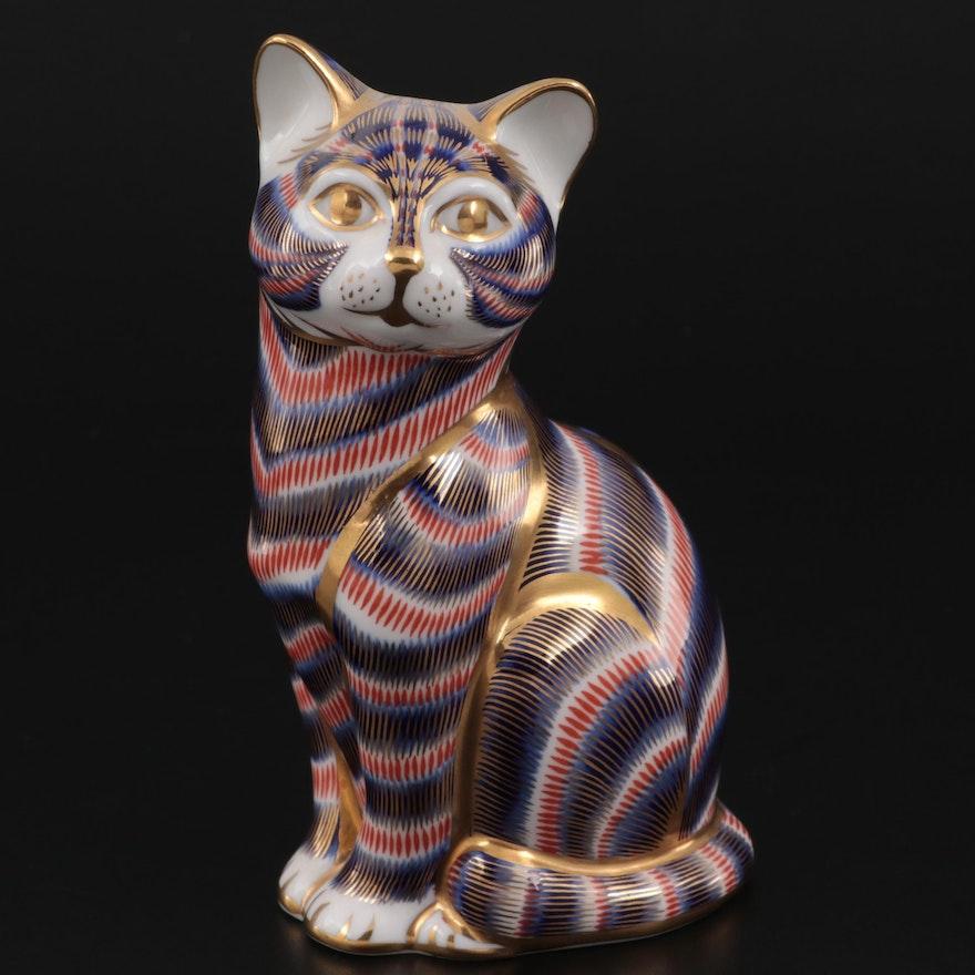 "Royal Crown Derby Imari Collection ""Cat"" Bone China Figurine"