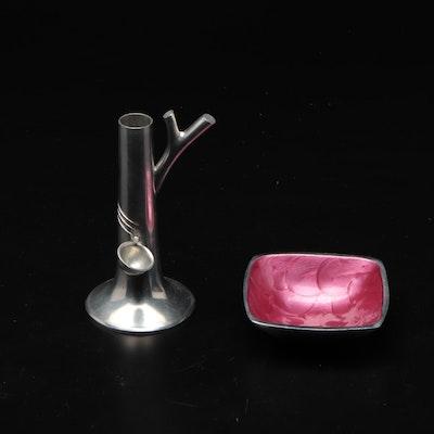 Plantation Metal Candlestick and Enameled Metal Bowl