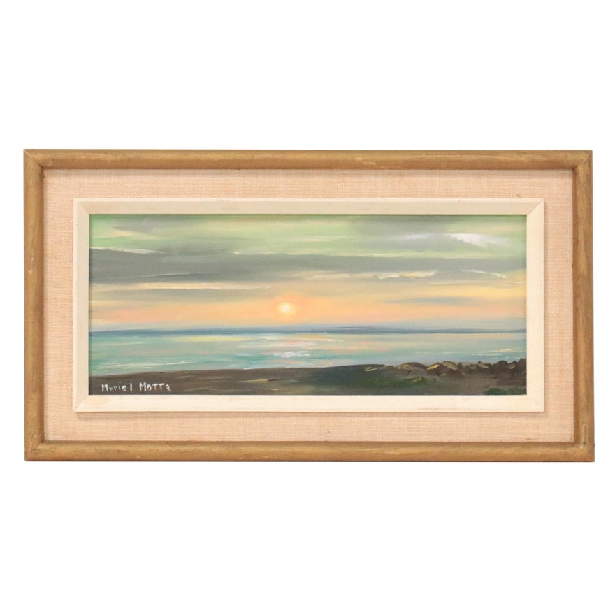 Oil Painting of a Sunset Seascape, 21st Century