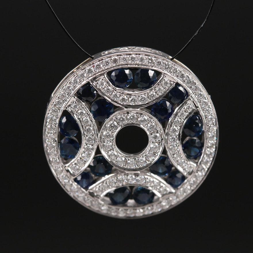 14K Sapphire and Diamond Slide Pendant