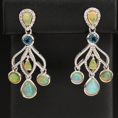 Sterling Silver Opal and Topaz Girandole Earrings