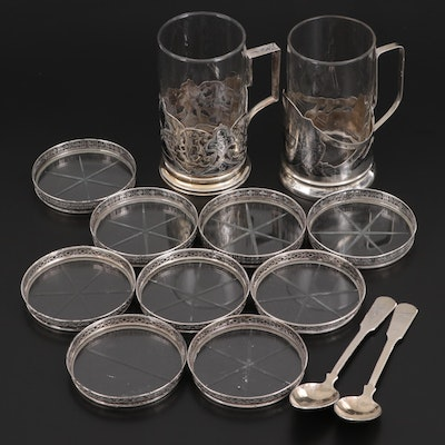 Russian 875 Silver Spoons and Zarfs with Webster Sterling Silver Rimmed Coasters