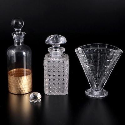 """Fitz & Floyd """"Daphne"""" Gold Leaf Glass Decanter, Crystal Vase, Decanter, Turtle"""