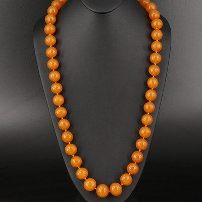 Graduated Amber Beaded Necklace