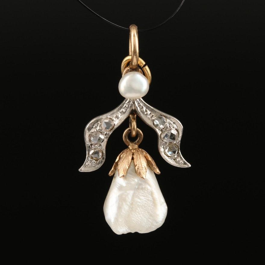 14K Pearl, Platinum and Diamond Ribbon Pendant
