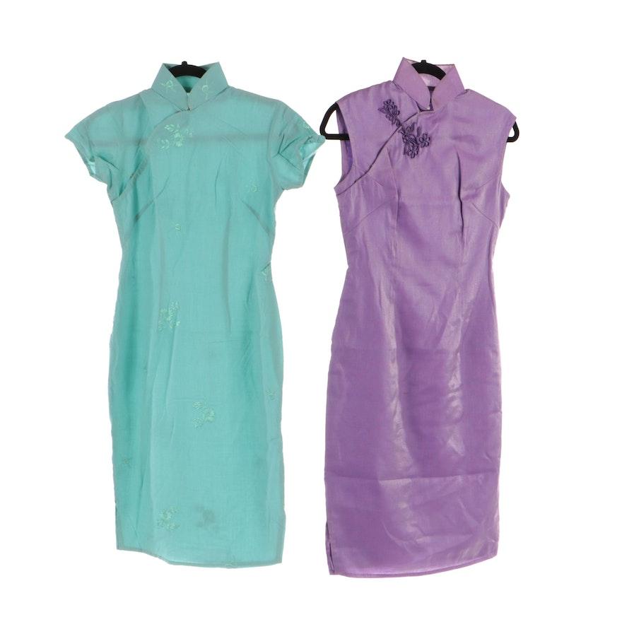 Cheongsam Style Lavender/Metallic and Embroidered Aqua Blue Silk Sheath Dresses