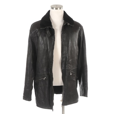Men's Gimo's Leather Coat with Topstitching Detail and Shearling Collar