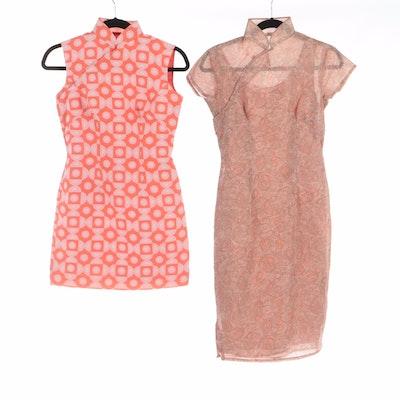 Cheongsam Style Floral Print and Geometric Brocade Dresses