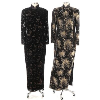 Cheongsam Dresses in Black and Gold Brocade and Burnout Velvet