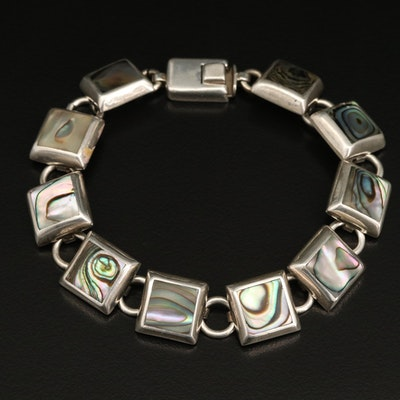 Mexican Sterling Silver Abalone Link Bracelet