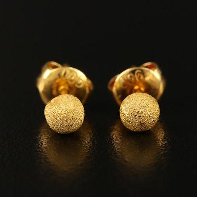 22K Gold Textured Stud Earrings