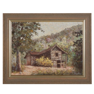 Impressionist Style Forest Cabin Mixed Media Painting, Circa 2000