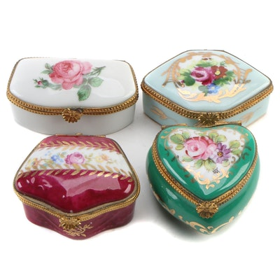 Hand-Painted Rose Blossom Porcelain Limoges Boxes