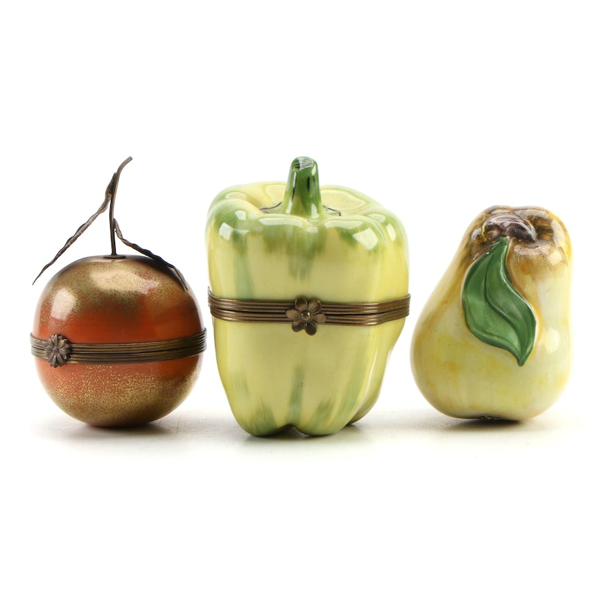 Parry Vieille and Other Hand-Painted Fruit and Vegetable Porcelain Limoges Boxes