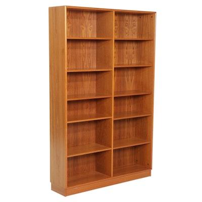 Danish Modern Style Teak-Veneered Divided Bookcase