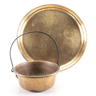 Chased Brass Round Tray with Wrought Iron Handled Brass Bucket