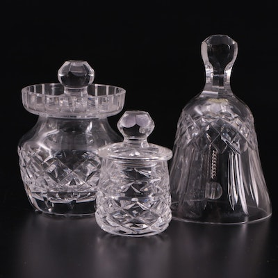 """Waterford Crystal """"Glandore"""" Mustard Jar with Other Honey Pot and Bell"""