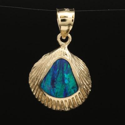14K Opal Inlay Shell Pendant