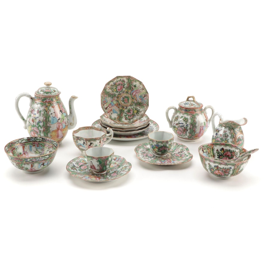 Chinese Rose Medallion Porcelain Tea Set and Other Tableware