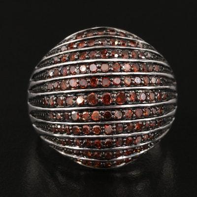 Sterling Diamond Multi-Row Dome Ring