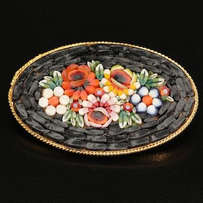 Italian Micromosaic Flower Brooch