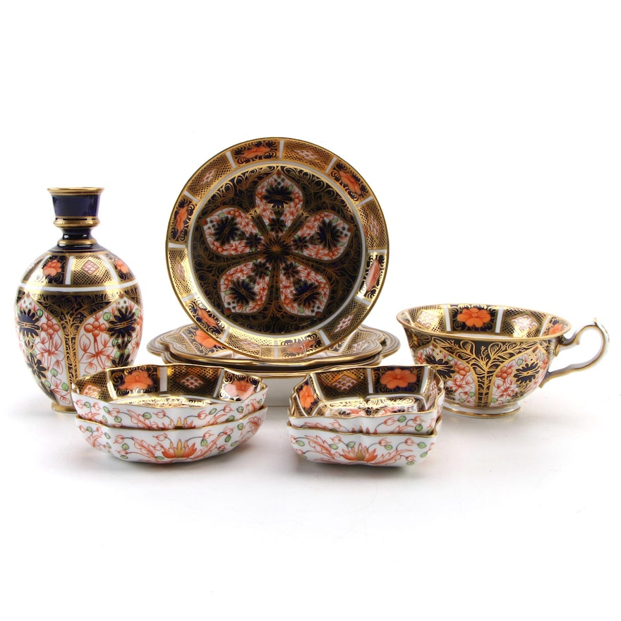 """Royal Crown Derby """"Old Imari"""" Porcelain Serveware and Table Accessories"""