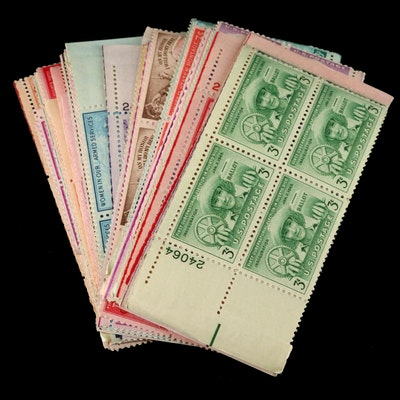 Fifty Mint Plate Block Stamps, 1950s–1970s