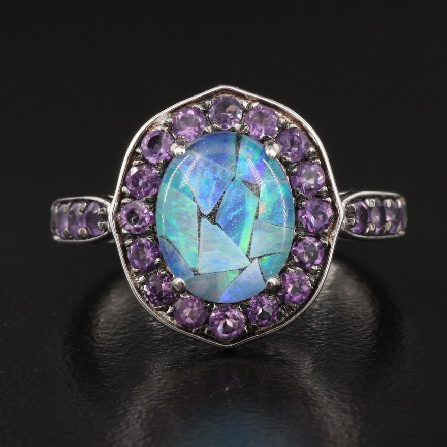 Sterling Opal Doublet and Amethyst Halo Ring