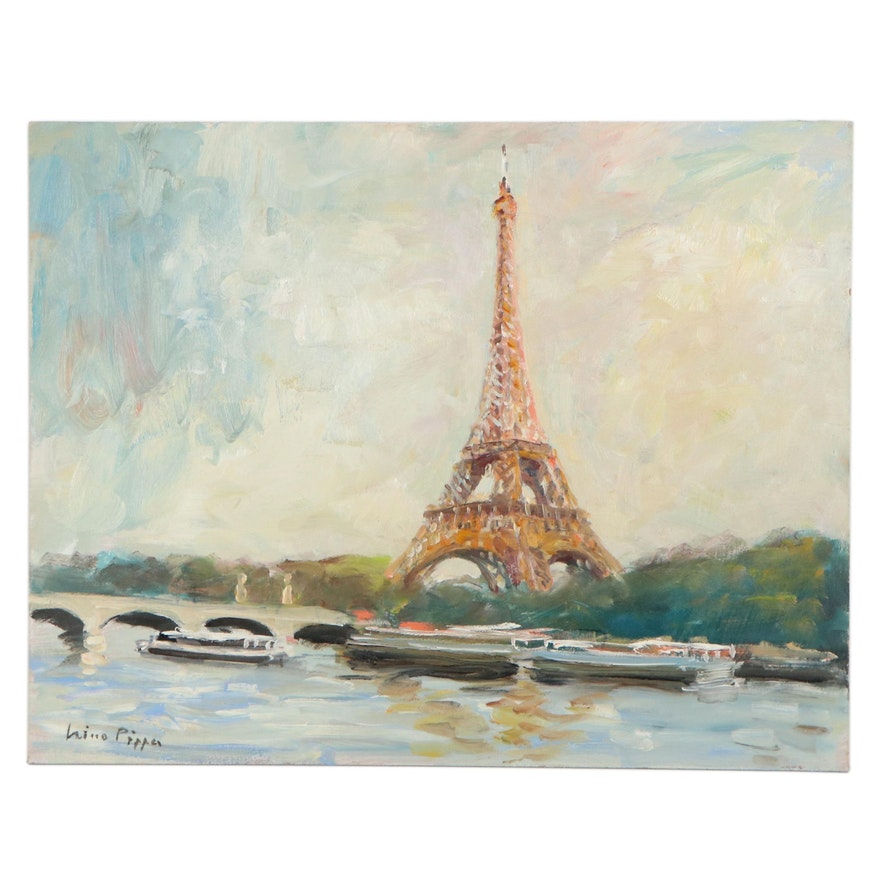 """Nino Pippa Oil Painting """"Paris - The Eiffel Tower from the River Droite,"""" 2018"""