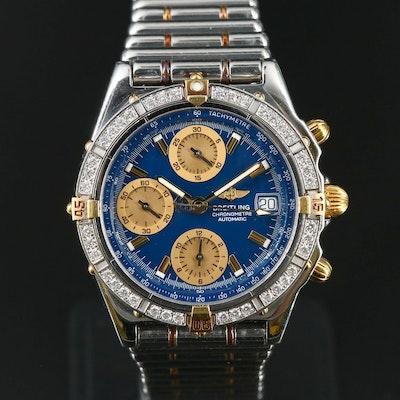 18K & Stainless Steel Breitling Chronomat Factory 1.00 CTW Diamond Bezel Watch
