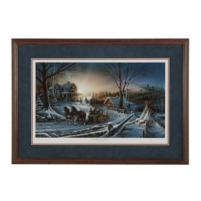 """Terry Redlin Offset Lithograph """"The Pleasures of Winter,"""" 1991"""