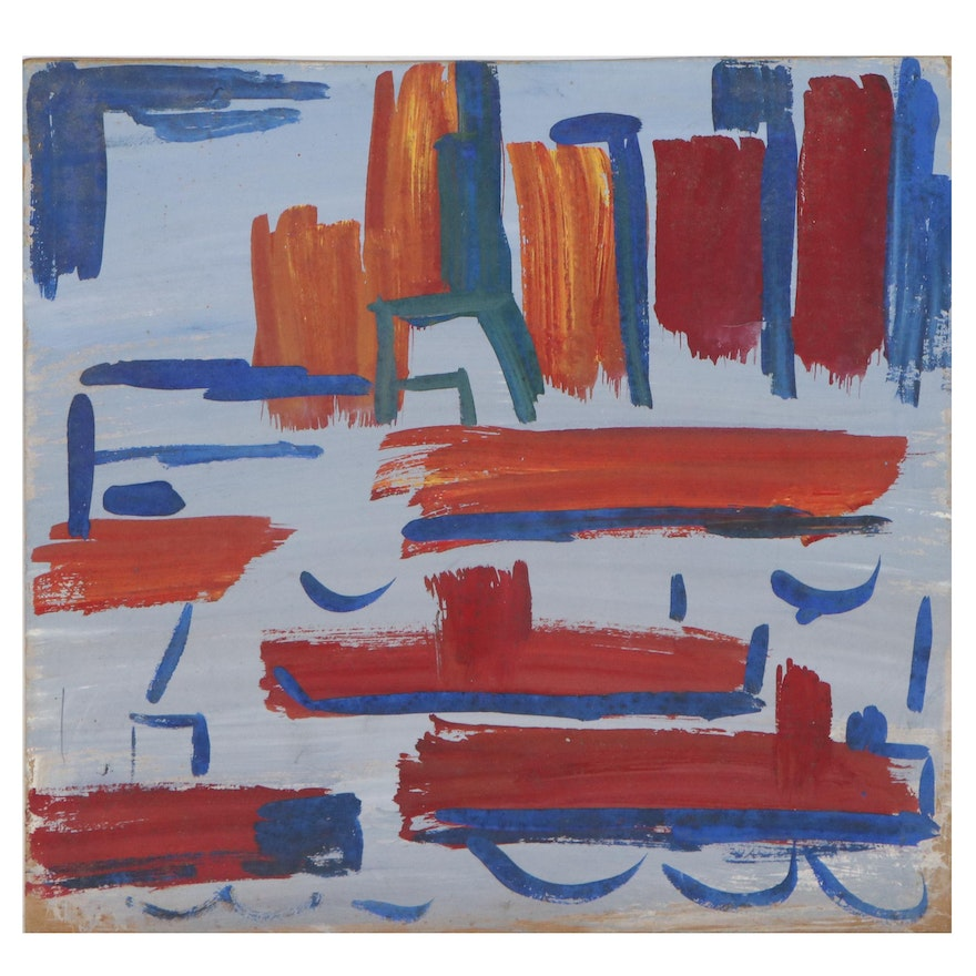 """Esther Phillips Abstract Gouache Painting """"Bldgs + Boats,"""" Mid-20th Century"""