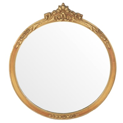 French Rococo Style Gilt Frame Round Wall Mirror