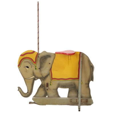 Children's Ride-On Painted Wooden Elephant with Candy Cane