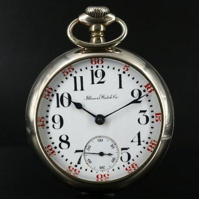 1912 Illinois Nickel Open Face Pocket Watch
