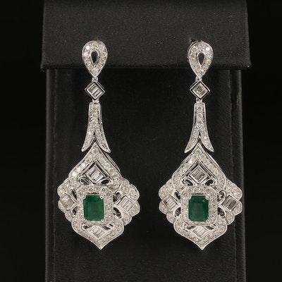 14K Emerald and 4.85 CTW Diamond Pendulum Earrings