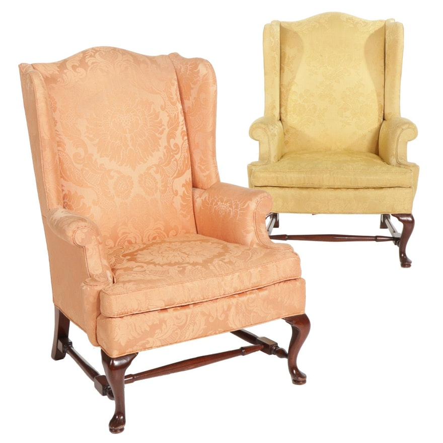 Pair of Jordan Marsh Queen Anne Style Damask-Upholstered Wingback Armchairs