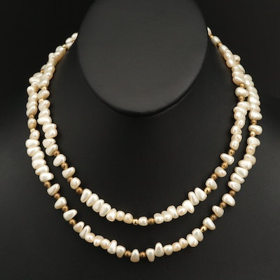 Faux Pearl and Bead Endless Necklace