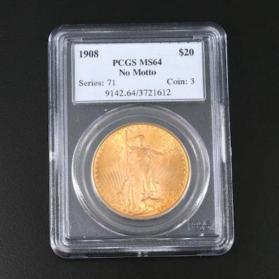 "PCGS Graded MS64 1908 ""No Motto"" Saint-Gaudens Double Gold Eagle"