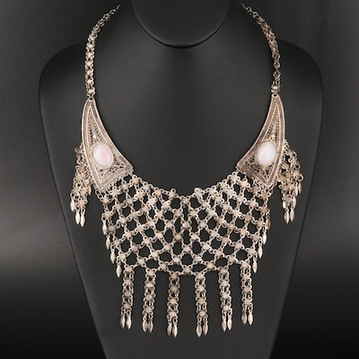 Mesh Bib Necklace With Glass Cabochon Accents