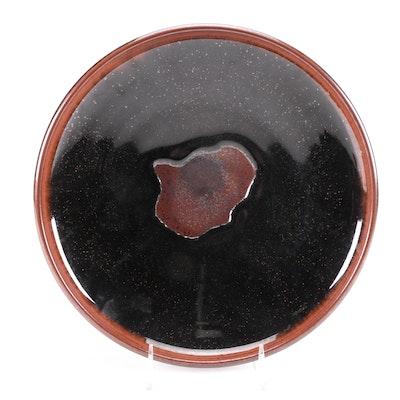 Artisan Signed Drip Glaze Ceramic Bowl